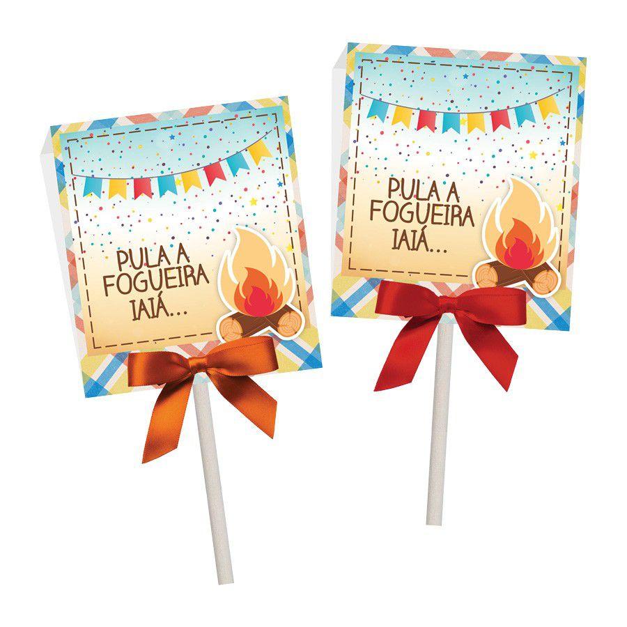 Porta Pirulito Festa Junina - 12 unidades  - www.doceriamirabella.com.br