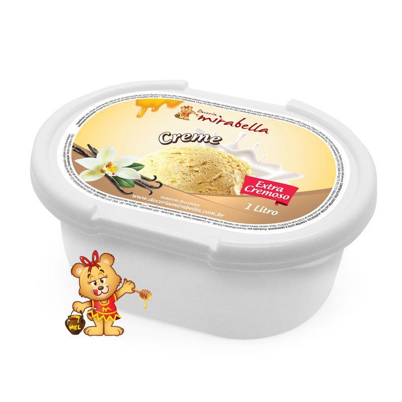 Sorvete de Creme - Pote 1 Litro  - www.doceriamirabella.com.br