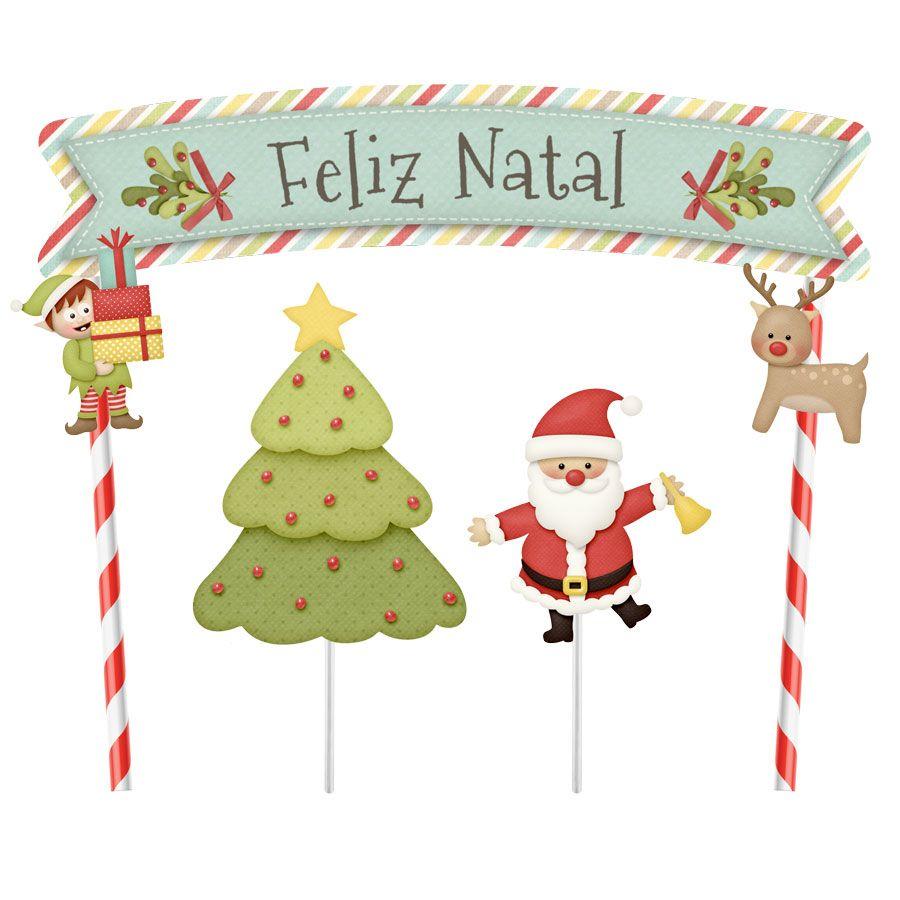 Topper para Bolo Árvore Feliz Natal - 1 unidade  - www.doceriamirabella.com.br