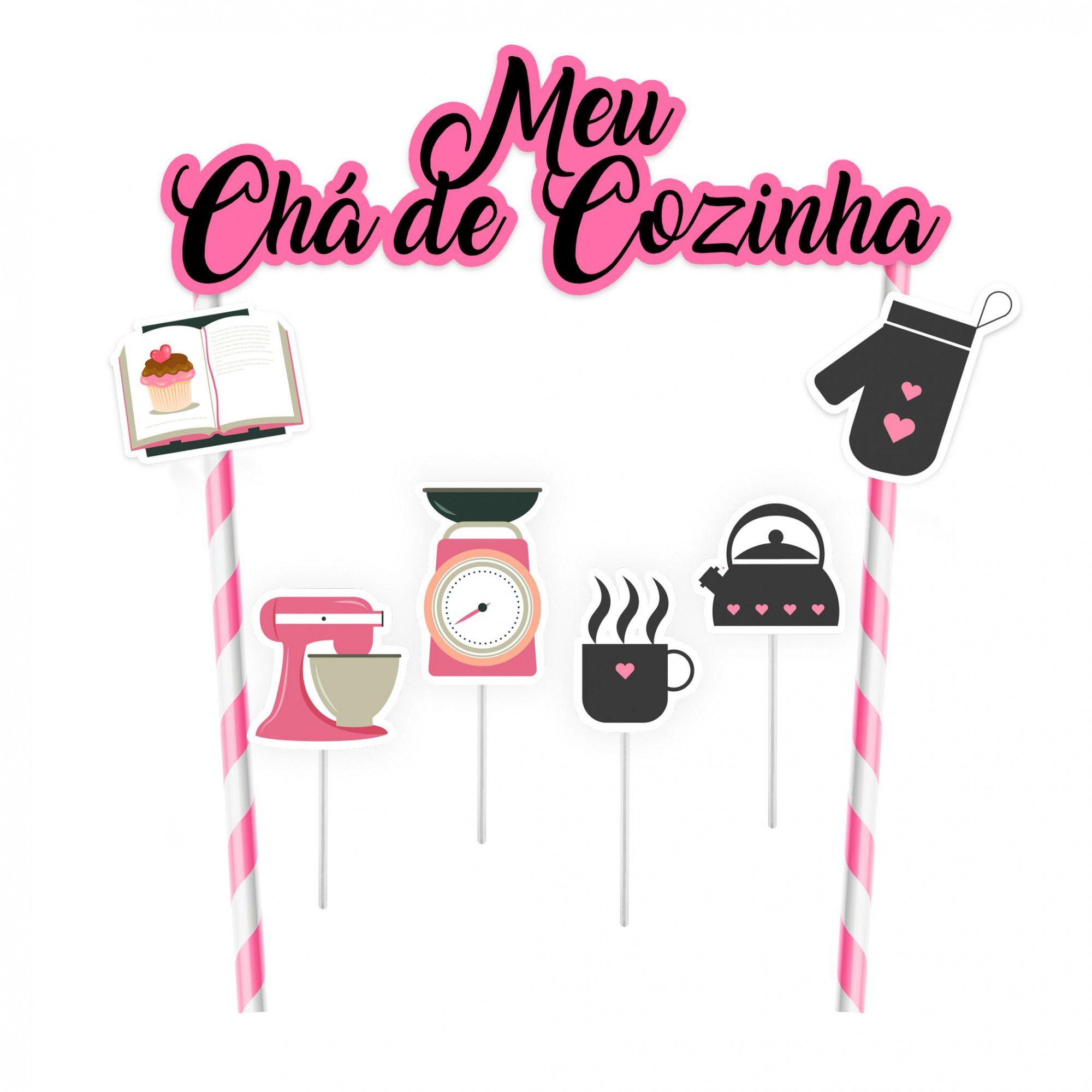 Topper para Bolo Chá de Cozinha - 1 unidade  - www.doceriamirabella.com.br