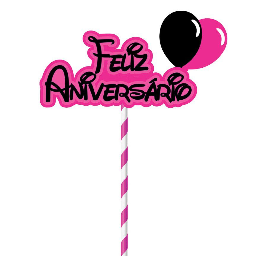 Topper para Bolo Feliz Aniversário - 1 unidade  - www.doceriamirabella.com.br