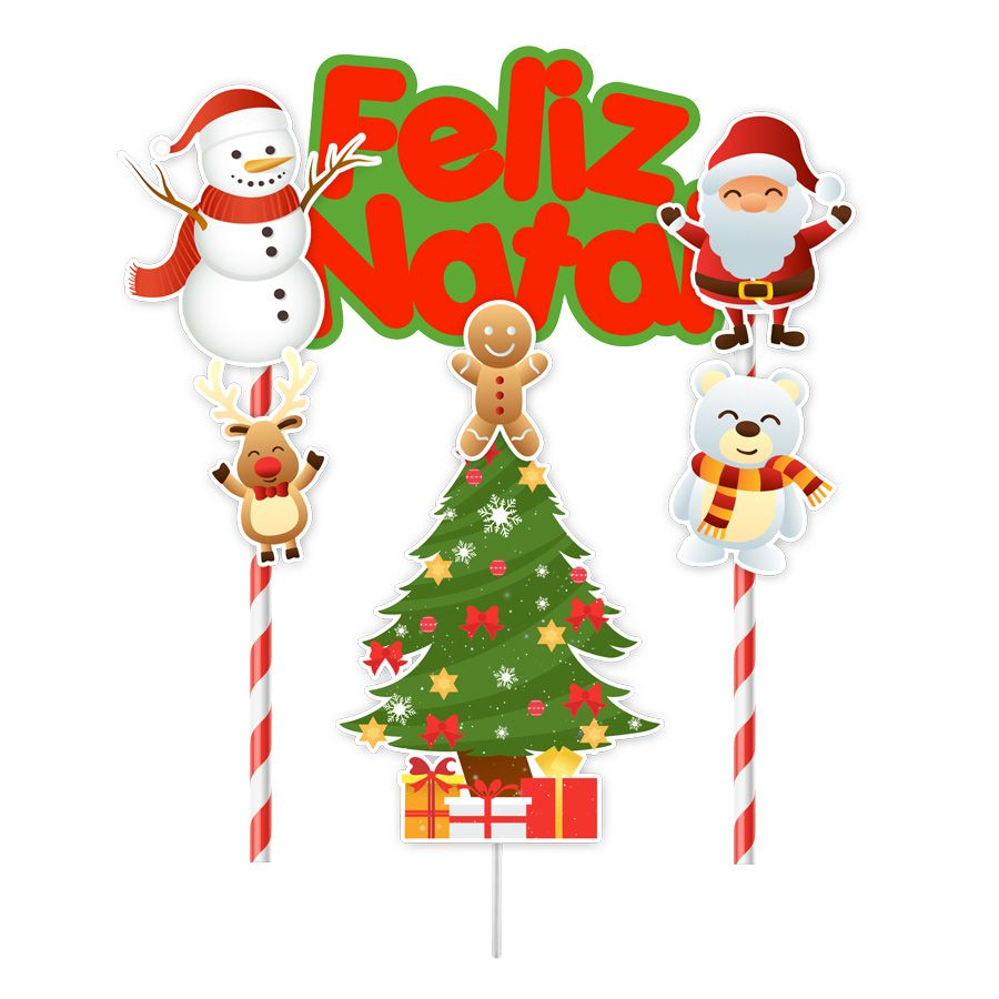 Topper para Bolo Feliz Natal - 1 unidade  - www.doceriamirabella.com.br