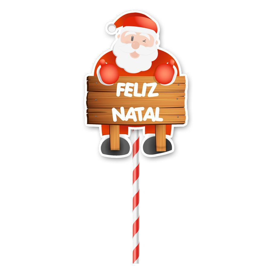 Topper para Bolo Natal - 1 unidade  - www.doceriamirabella.com.br