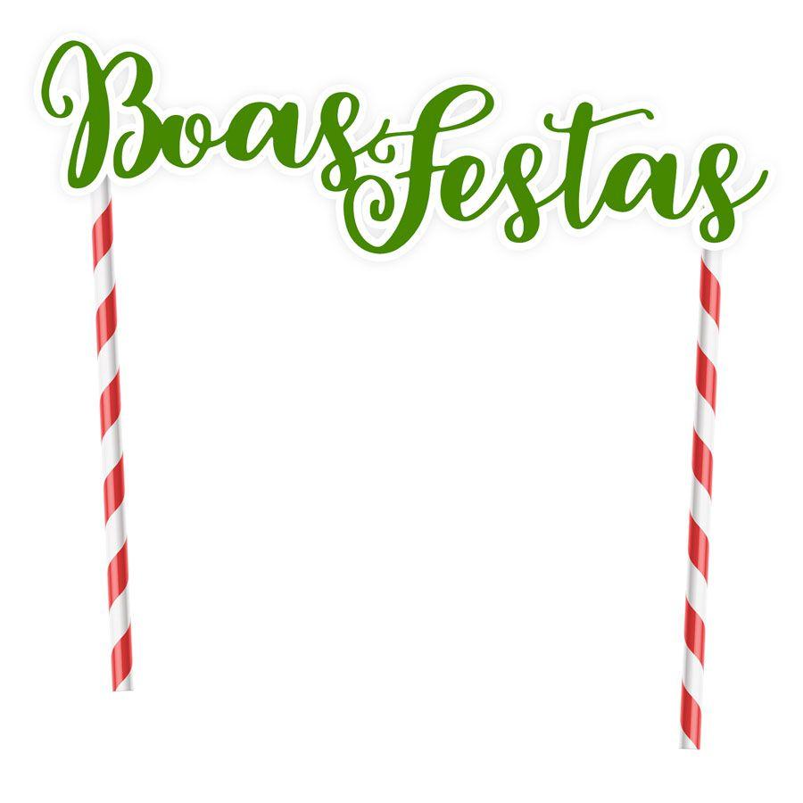Topper para Bolo Natal Boas Festas Verde - 1 unidade  - www.doceriamirabella.com.br