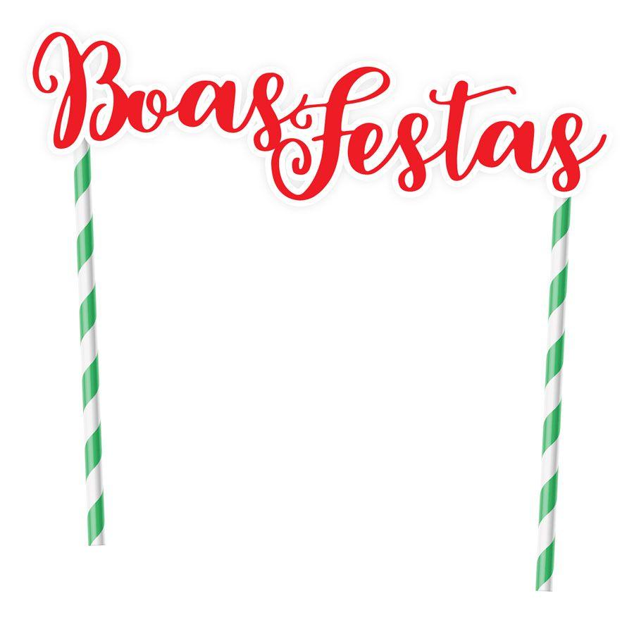 Topper para Bolo Natal Boas Festas Vermelho - 1 unidade  - www.doceriamirabella.com.br