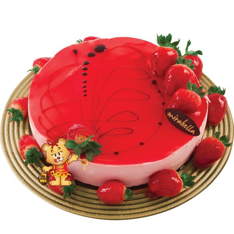 Torta Mousse de Morango  - www.doceriamirabella.com.br