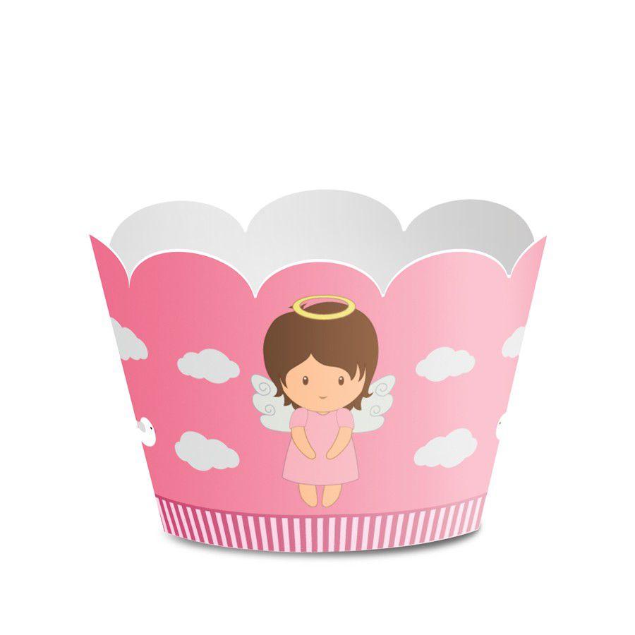 Wrapper para Cupcake Batizado Menina - 12 unidades  - www.doceriamirabella.com.br
