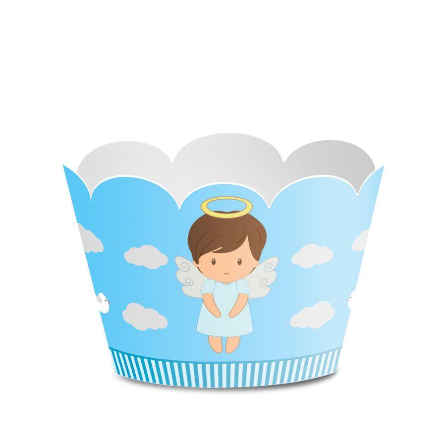 Wrapper para Cupcake Batizado Menino - 12 unidades  - www.doceriamirabella.com.br