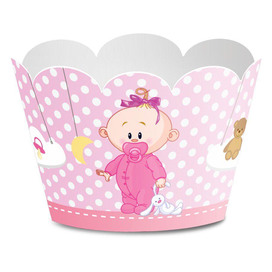 Wrapper para Cupcake Chá de Bebê Menina - 12 unidades  - www.doceriamirabella.com.br