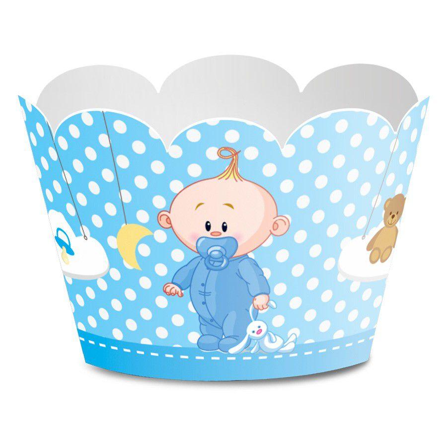 Wrapper para Cupcake Chá de Bebê Menino - 12 unidades  - www.doceriamirabella.com.br