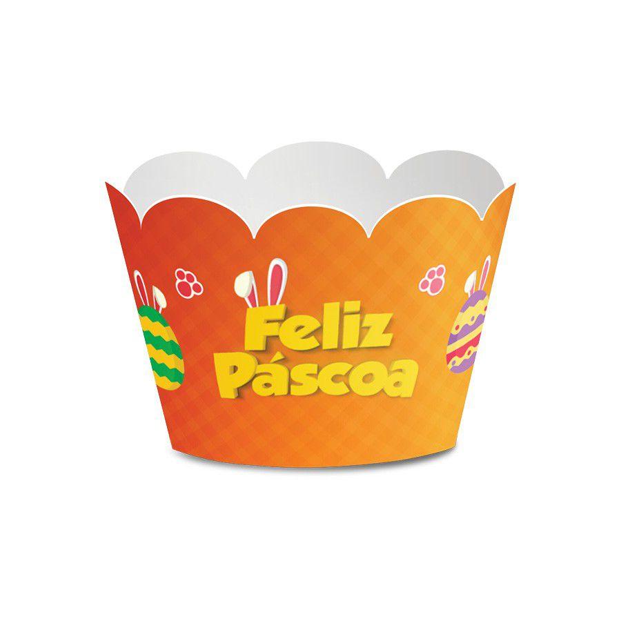 Wrapper para Cupcake Páscoa Laranja - 12 unidades  - www.doceriamirabella.com.br