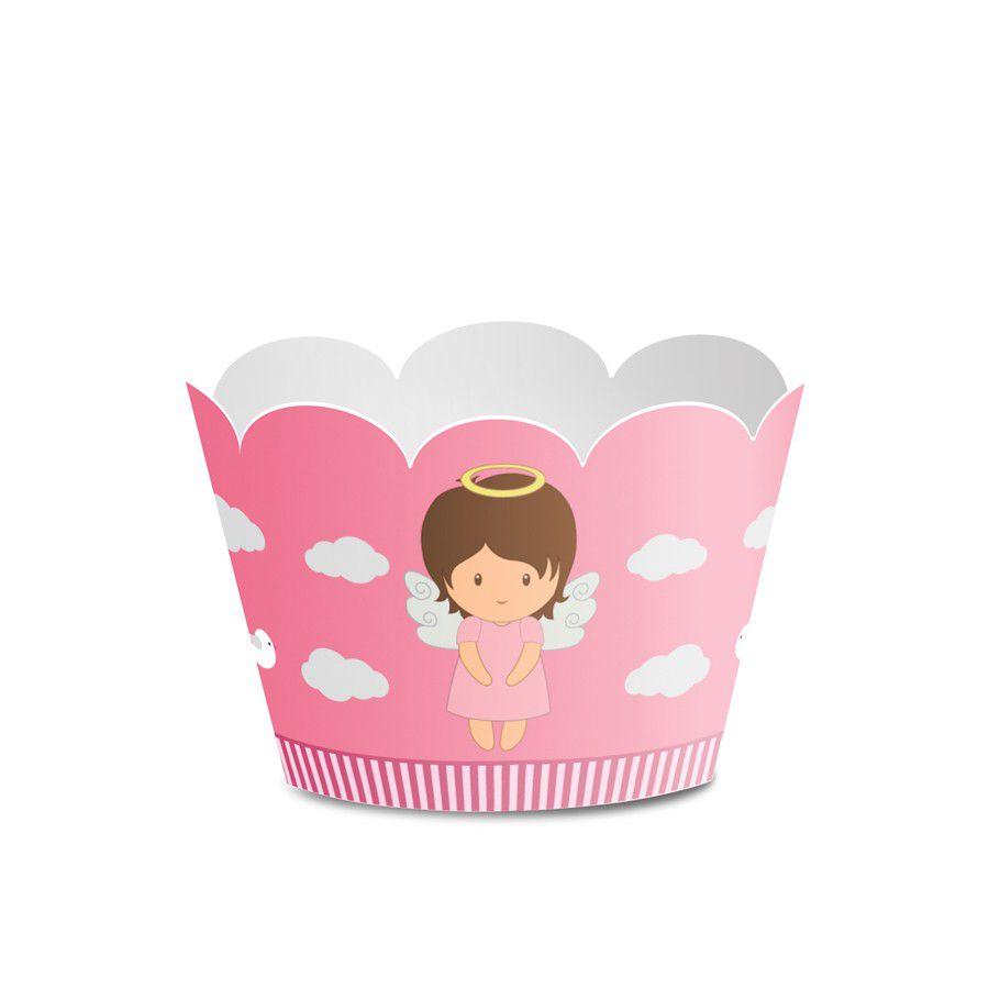 Wrapper para Mini Cupcake Batizado Menina - 12 unidades  - www.doceriamirabella.com.br