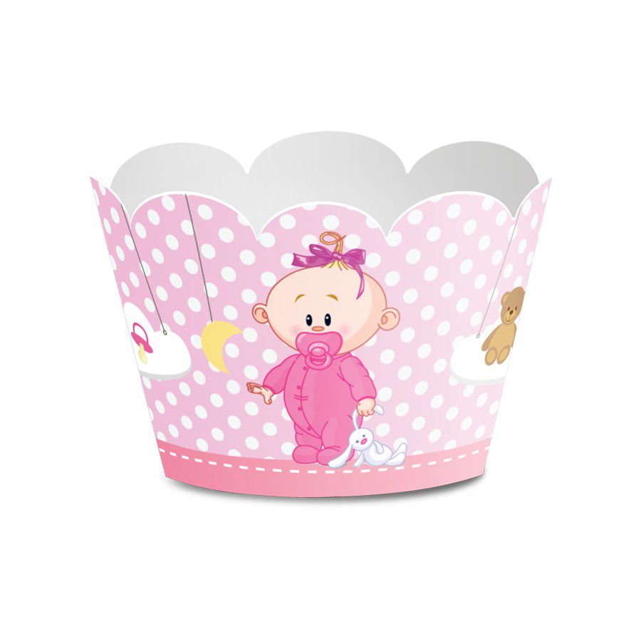 Wrapper para Mini Cupcake Chá de Bebê Menina - 12 unidades  - www.doceriamirabella.com.br