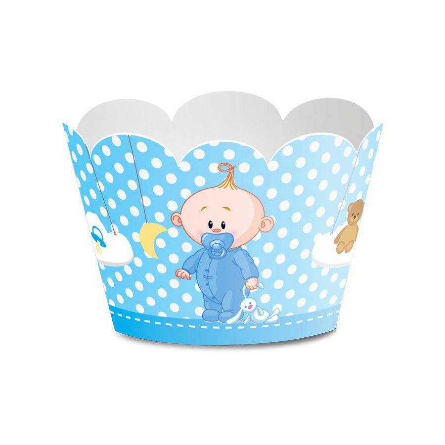 Wrapper para Mini Cupcake Chá de Bebê Menino - 12 unidades  - www.doceriamirabella.com.br