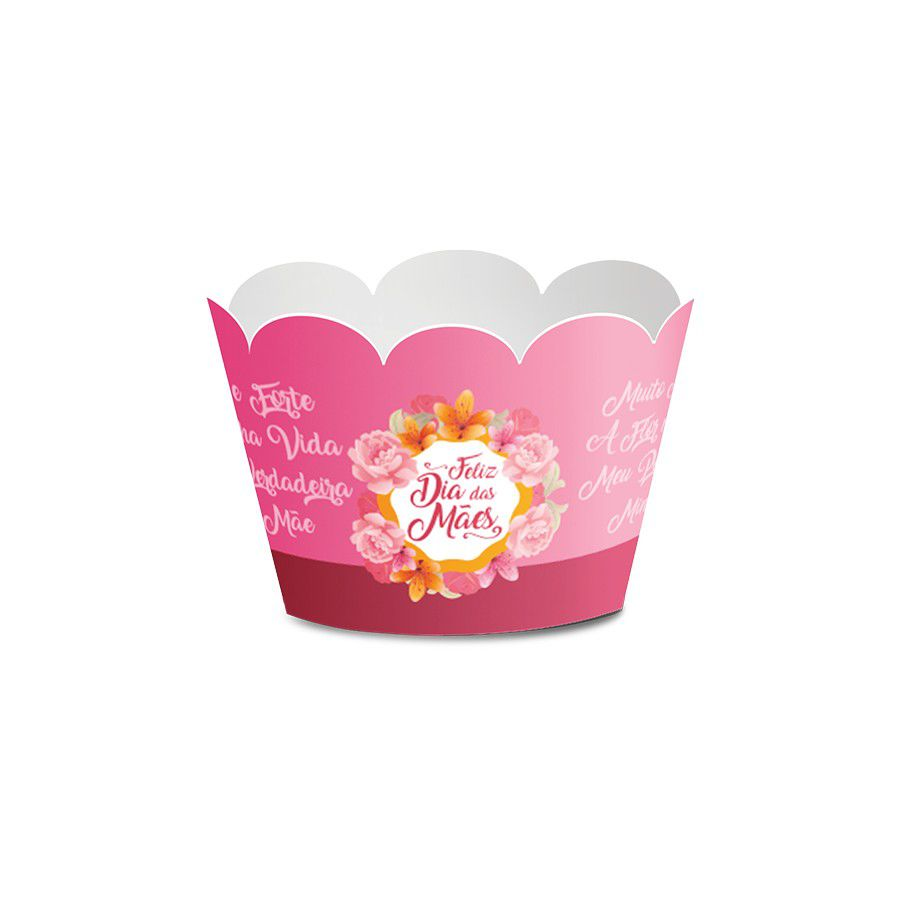 Wrapper para Mini Cupcake Dia das Mães - 12 unidades  - www.doceriamirabella.com.br