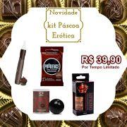 Kit Páscoa Erótica Preservativo, Caneta Comestível, Gel Sexo Oral, Bolinha Chocolate