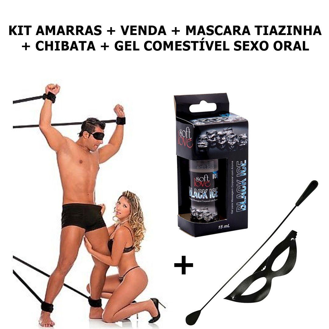 Kit Sado / Fetiche Amarras, Venda, Mascara, Chibata, Gel Comestível