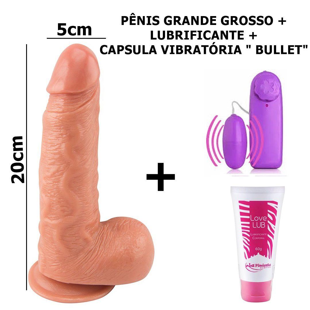 Pênis Com Ventosa e Testiculos, Lubrificante, Bullet - Promoção