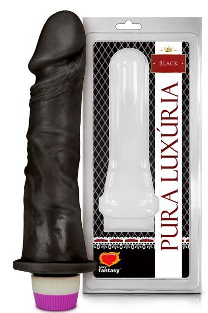 Pênis Com Vibro Preto 21cm - Sexy Fantasy