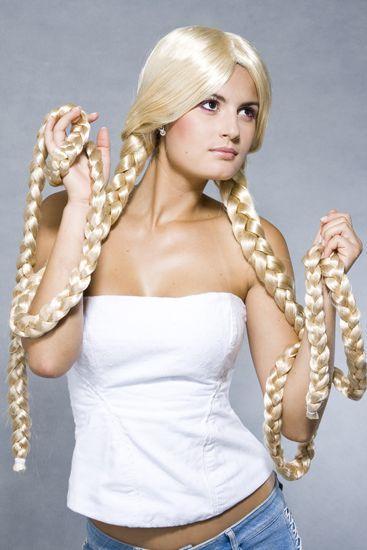 Peruca Sintética Rapunzel duas tranças Fio Nacional