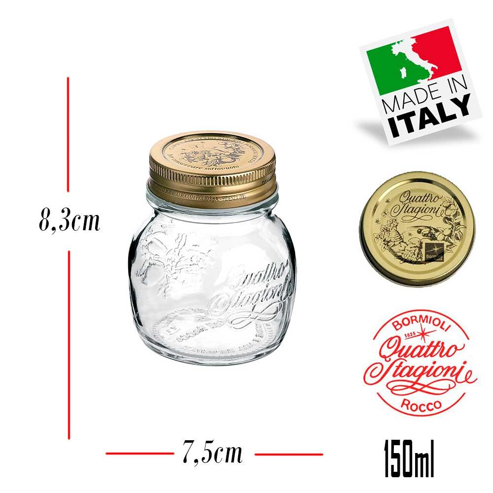 10 Potes Quattro Stagioni 150ml de vidro com fechamento hermético Bormioli Rocco para papinhas conservação de alimentos