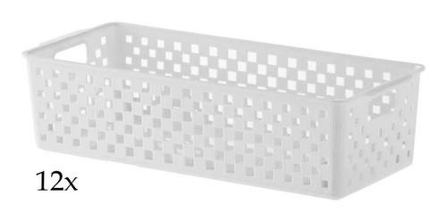 12 Cestas Organizadoras Quadratta branco para gavetas, armários, lavanderias, cozinha, banheiro, quarto