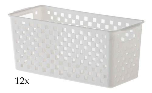 12 Cestos Organizadores Quadratta branco para gavetas, armários, lavanderias, cozinha, banheiro e quarto
