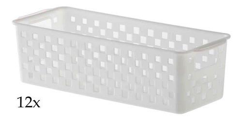 12 Cestos Organizadores Quadratta multifuncional branco para gavetas, armários, lavanderias, cozinha, banheiro, quarto