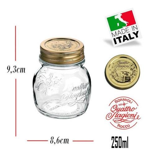 12 Potes herméticos de vidro Quattro Stagioni  Bormioli Rocco para papinhas, geleias, compotas, doces e conservas