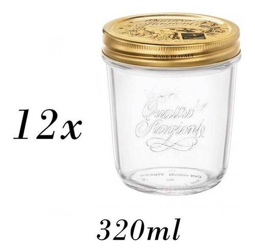 12 Potes Quattro Stagioni 320ml de vidro hermético Bormioli Rocco para papinhas, compotas, doces caseiros e conservas