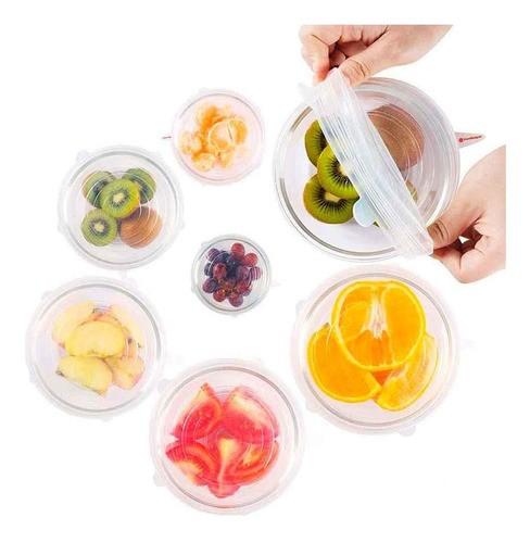 12 Tampas de Silicone para Potes Frascos Frutas Reutilizáveis e Elásticas