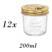 12 Potes Quattro Stagioni 200ml de vidro hermético Bormioli Rocco para papinhas, compotas, doces caseiros e conservas
