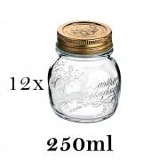 12 Potes Quattro Stagioni 250ml de vidro com fechamento hermético Bormioli Rocco para papinha e conservação de alimentos