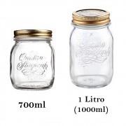 2 Potes de vidro herméticos Quattro Stagioni Bormioli Rocco para papinhas, compotas, conservas e armazenamento