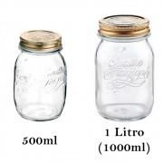 2 Potes hermeticos de vidro Quattro Stagioni Bormioli Rocco para mantimentos, compotas, conservas e armazenamento