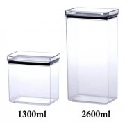 2 Potes Herméticos Retangular 1300ml e 2600ml para armazenamento de alimentos