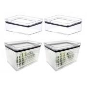 2 Potes Porta Frios Hermético 770ml e 2 potes hermético para saladas, frutas e legumes 1800ml