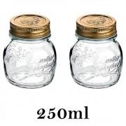 2 Potes Quattro Stagioni 250ml de vidro com fechamento hermético Bormioli Rocco para papinhas e conservação de alimentos