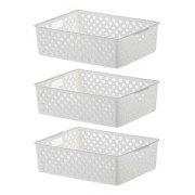 3 Cestinhas Organizadoras Quadratta branco para gavetas, armários, lavanderias, cozinha, banheiro, quarto