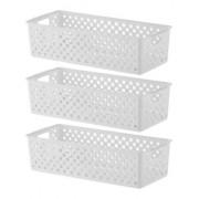 3 Cestos Organizadores Quadratta branco para gavetas, armários, lavanderias, cozinha, banheiro, quarto infantil