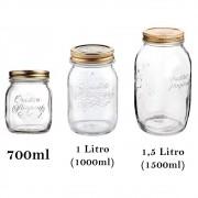 3 Potes de vidro herméticos Quattro Stagioni Bormioli Rocco para compotas, conservas e conservação de alimentos
