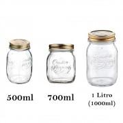 3 Potes de vidro herméticos Quattro Stagioni Bormioli Rocco para legumes, frutas, papinhas, compotas e conservas
