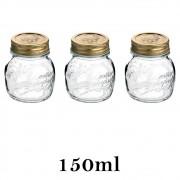 3 Potes Quattro Stagioni 150ml de vidro com fechamento hermético Bormioli Rocco para papinhas e conservação de alimentos