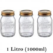 3 Potes Quattro Stagioni 1 Litro (1000ml) de vidro com fechamento hermético Bormioli Rocco para conservação de alimentos