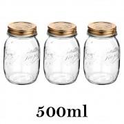 3 Potes Quattro Stagioni 500ml de vidro com fechamento hermético Bormioli Rocco para conservação de alimentos