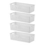 4 Cestos Organizadores Quadratta branco para gavetas, armários, lavanderias, cozinha, banheiro, quarto