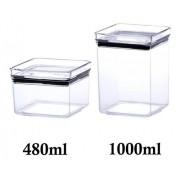 4 Potes Herméticos quadrado 480ml e 1000ml para armazenamento de alimentos