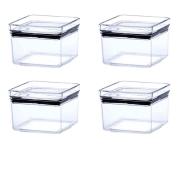 4 Potes Herméticos quadrado empilháveis 480ml para armazenamento de alimentos