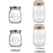 4 Potes herméticos Quattro Stagioni Bormioli Rocco de vidro para compotas, conservas, frutas e legumes