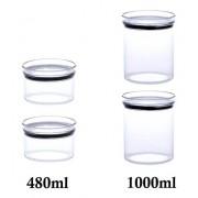 4 Potes Herméticos Redondo 480ml e 1000ml para armazenamento de alimentos